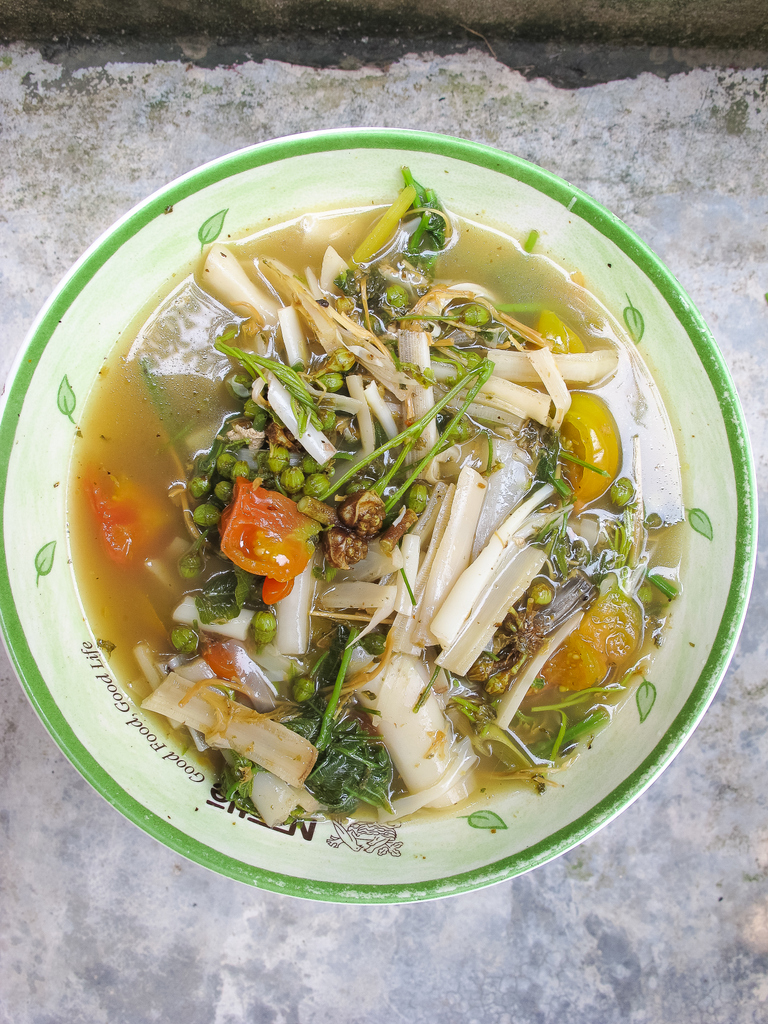 The hearty vegetable stew made with slivers of white banana stem hearts, green flowers of the snowflake tree, and local sour tomatoes.  Thai cookbooks reflect the food culture of dominant and food secure lowland groups, rather than the minority and food-insecure groups in the mountains. Source: Food Culture in Southeast Asia, Penny van Esterik (2008)